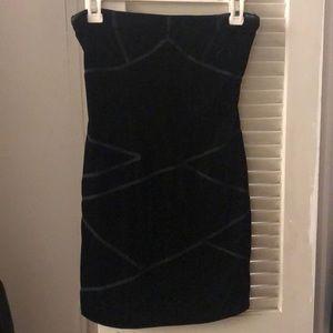 Silence & Noise Black Velvet Tube Top Dress XS
